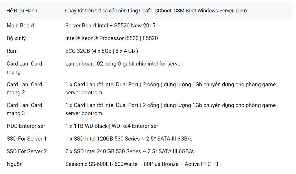 máy chủ server quán net